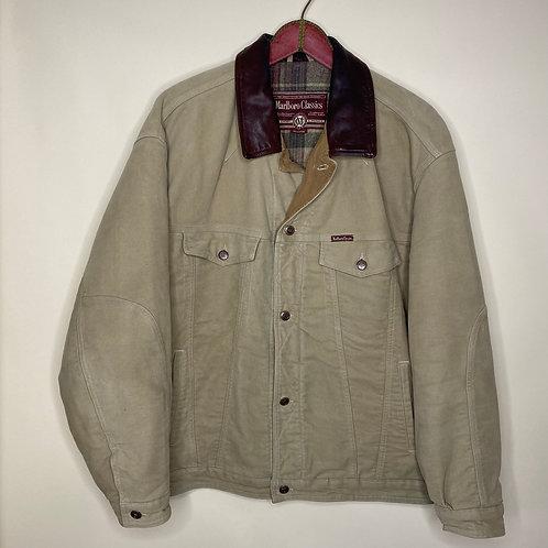 Vintage Jacke Marlboro Classics Lederkragen Unisex 80's 90's (XXL)