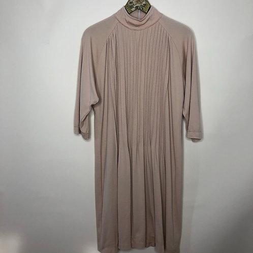 Vintage Jersey Kleid Midi Beige 80's 90's (M-L)