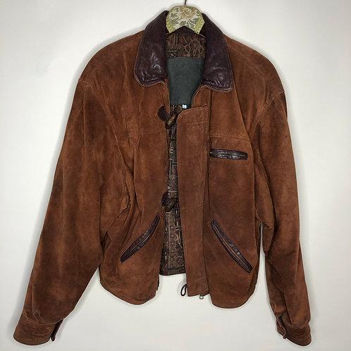 Vintage oversized Suede Leatherjacket Cognac Unisex 80's 90's (L-XL)