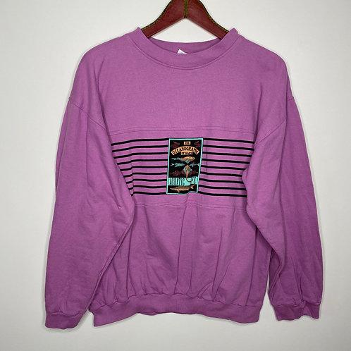Vintage Pullover Lila Schwarz 80's 90's (L)
