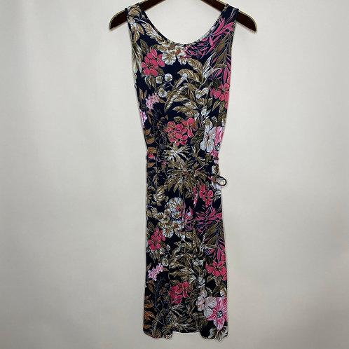 Vintage Midi Kleid Baumwolle Blumen & Pflanzen 80's 90's (S)