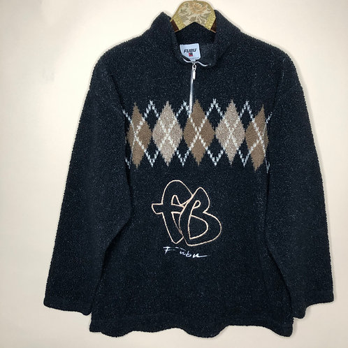 Vintage Teddy Fleece Sweater 80's 90's (L)