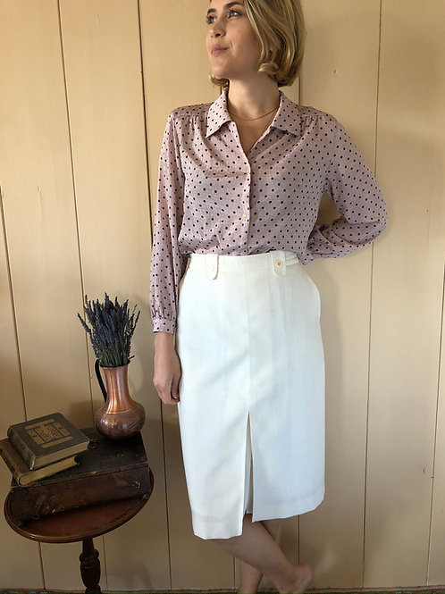 Vintage Rock Pencil Skirt Creme 80's 90's (M)