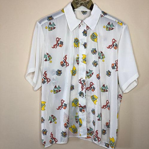 Vintage Bluse Fische Kurzarm 80's 90's (L)