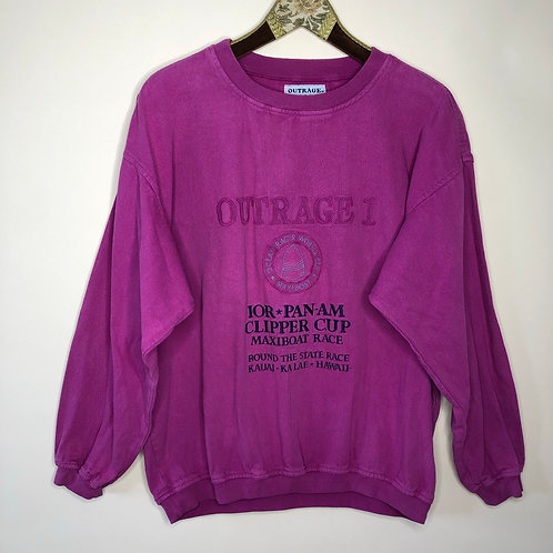 Vintage Baumwoll Pullover Pink oversized 80's 90's (L)