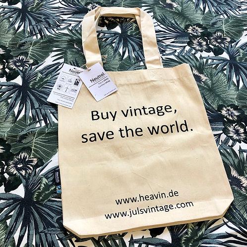"""Einkaufsbeutel """"Buy vintage, save the world."""" Organic Cotton"""
