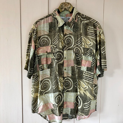 Vintage Crazy Pattern Silk Shirt Unisex (L-XL)