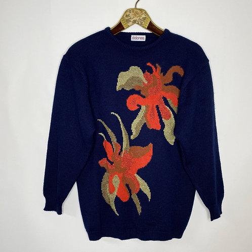 Vintage Strickpullover Blumen 80's 90's (L)