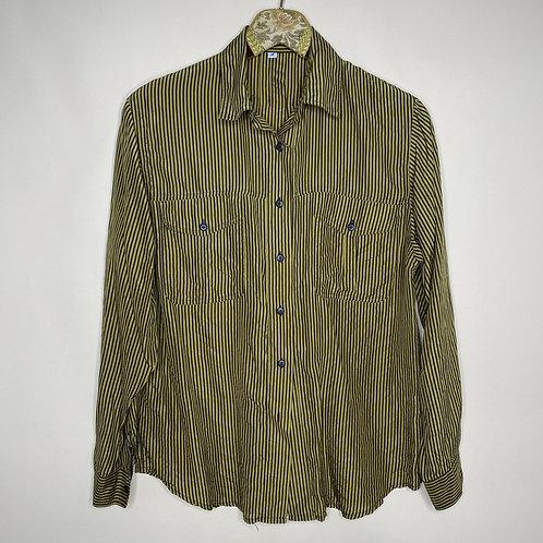 Vintage Bluse Seide Streifen Schwarz Gold 80's 90's (M)