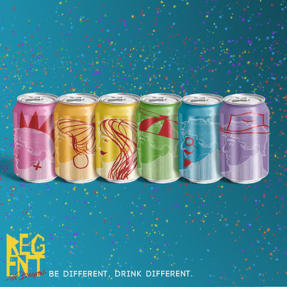 Beer can and advert designs