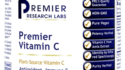 Vitamin C Premier Research Labs Plant-Sourced Vegan 60 capsules