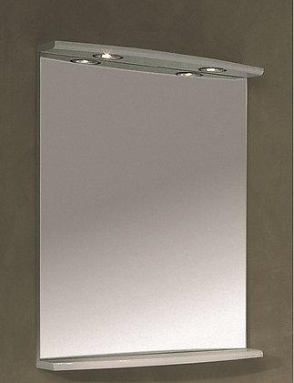 Zrcadlo š.72cm D04.LL s rampou a osvětlením bílá lesk