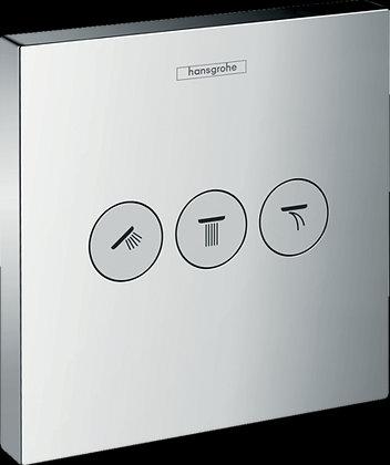 Ventil pod omítku Hansgrohe Shower Select pro 3 spotřebiče, chrom 15764000