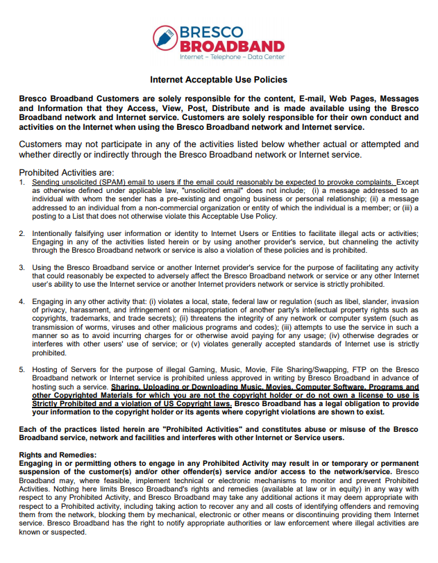 Bresco Broadband Acceptable Use Policy P