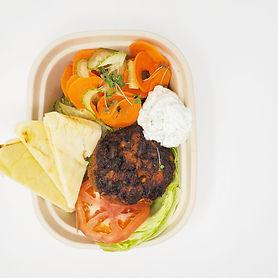 Tikka Burger with Carrot Salad & Tzatzik