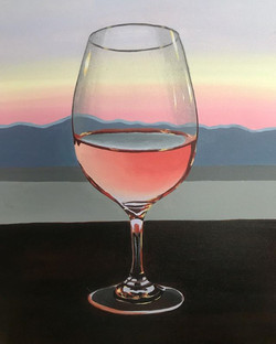 a glowing glass of rosé 🍷  acrylic on c