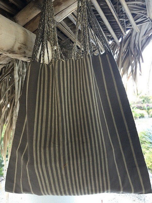 100% Cotton - Tote Bag - Made In Chiapas Mexico - Mud/Cream Stripes