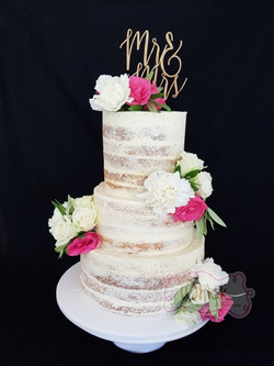 Wedding Cake | Tiered Semi-Naked Cake with Faux Flowers