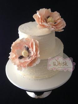 Wedding Cake | Two Tier Horizontal Buttercream with Peach Fantasy Flower