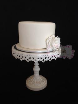 Wedding Cake | Single Tier Fondant Covered Cake with Sugar Rose