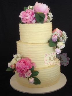 Wedding Cake | Tiered Horizontal Ganache and Faux Flowers