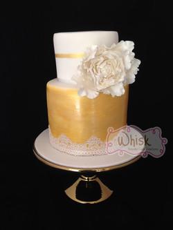 Wedding Cake | Gold Cake with Peony