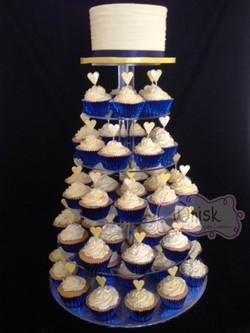 Wedding Cake | Blue and Yellow Cupcake Tower