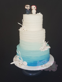 Wedding Cake | Tiered Semi-Naked Ombre Cake with Seashells