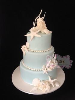 Wedding Cake | Tiered Fondant Covered Cake with Seashells