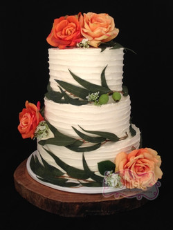 Wedding Cake | Tiered Horizonal Buttercream Cake with Faux Flowers