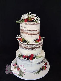 3 Tier Semi Naked Cake with Berries, Ros