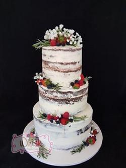 Wedding Cake | Tiered Semi-Naked Cake with Fruit, Rosemary and Faux Gypsophila