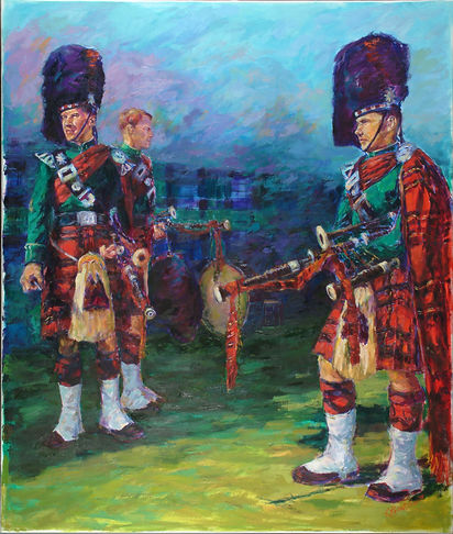 Oil on canvas Scottish Pipers