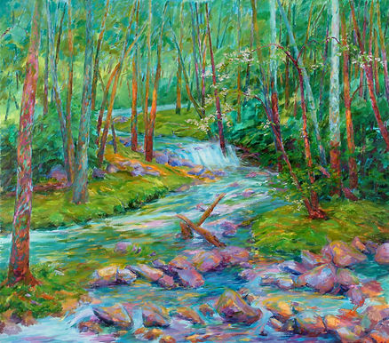 Oil on canvas brook in the woods