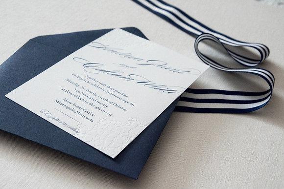 Blind Lace Letterpress Invitation