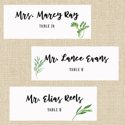 Greens Place Cards - Assortment