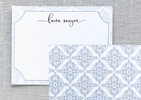 Damask Inspired Note Cards