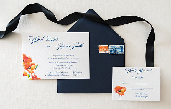 Orange Poppy Invitation