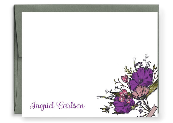 Hand Drawn Purple Flowers Note Cards