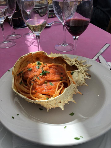 pasta with crab served in crab shell great lunch.jpg