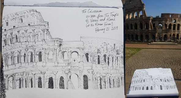 The Colosseum; as seen from the Temple of Venus and Rome (at the Roman Forum, February 21 2019