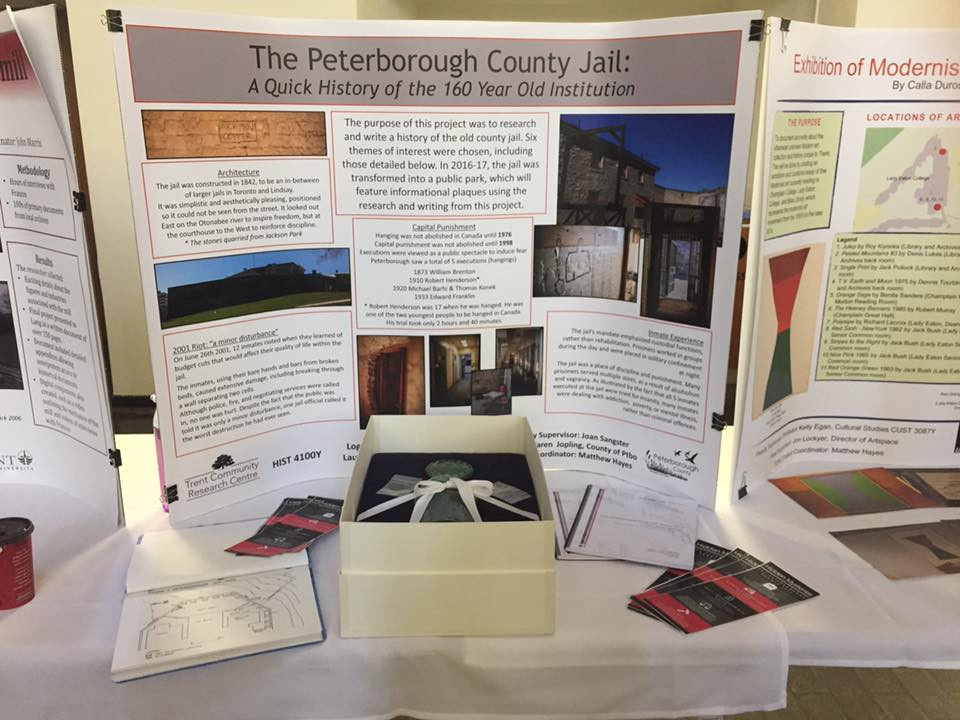 Our display at the research forum, including the time capsule from the original jail.