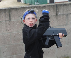YOUNG LASER TAG PLAYER AT BATTLE STATIONS ACTIVITY CENTRE
