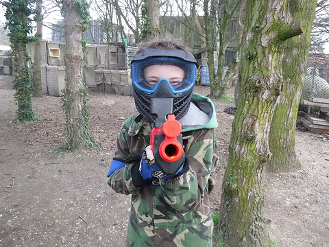 YOUNG PLAYER LOW IMPACT PAINTBALL AT BATTLE STATIONS ACTIVITY CENTRE