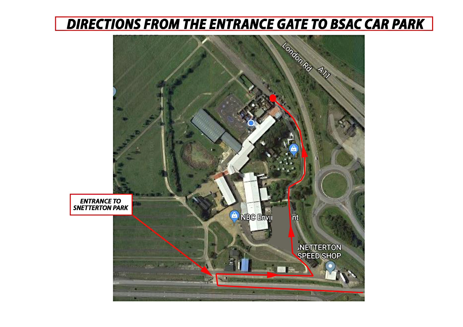 DIRECTIONS MAP FROM ENTRANCE TO CARPARK.