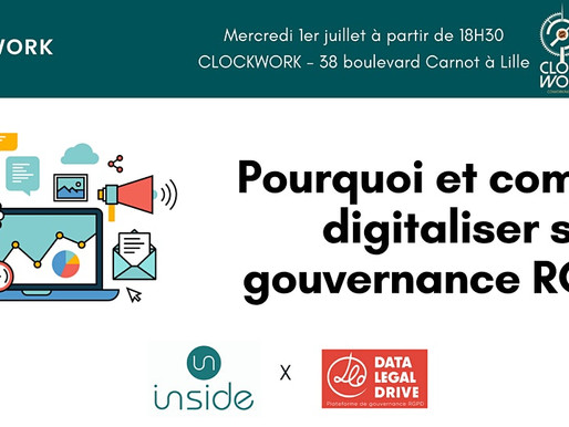 Pourquoi et comment digitaliser sa gouvernance RGPD ? - Afterwork Inside & Data Legal Drive