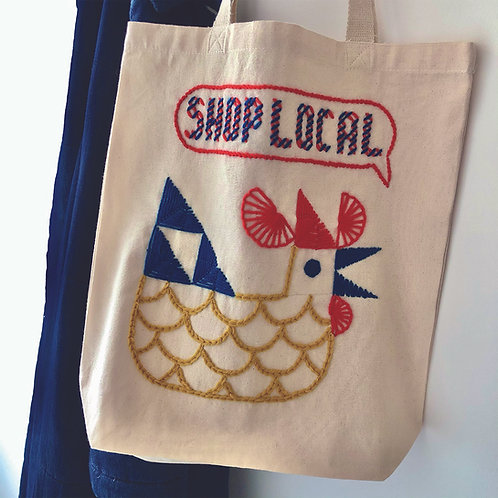 'SHOP LOCAL' TOTE BAG EMBROIDERY KIT