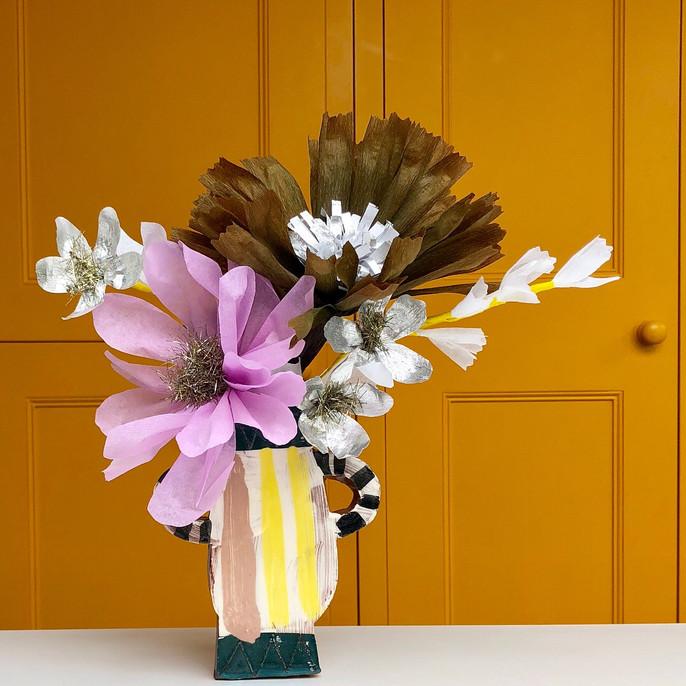 Clay vase, Paper flowers
