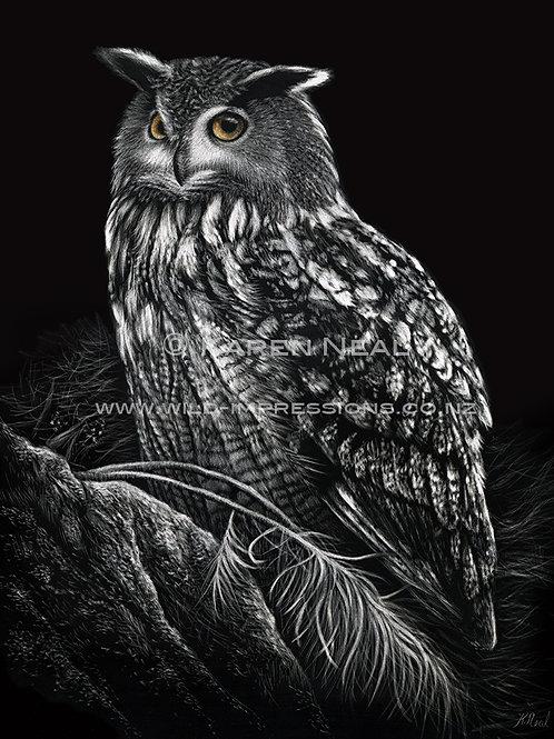 """Nocturnal Vigilance""  (Eurasian Eagle Owl) By Karen Ranken Neal"