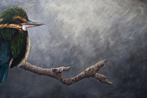 """Gone Fishing"" (Kotare - New Zealand Kingfisher) By Karen Raiken Neal"
